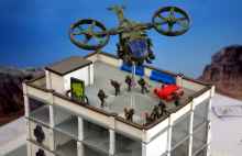 LARC B inserts Homeguard troopers on a rooftop.